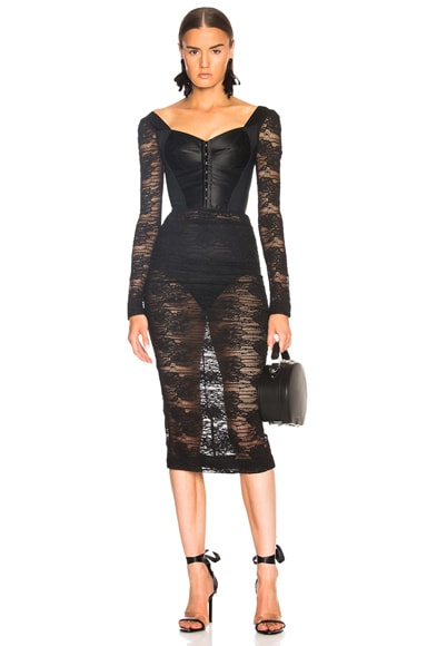 Lace Corset Midi Dress