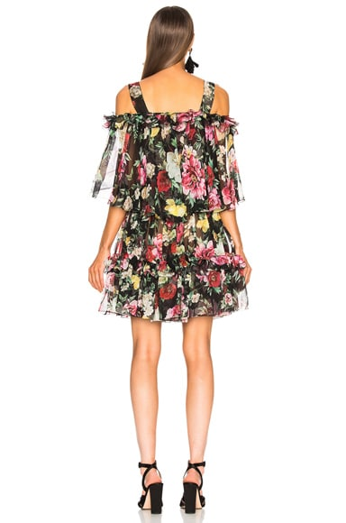 Silk Chiffon Floral Cold Shoulder Mini Dress