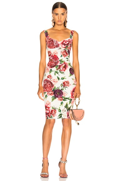 Peony Print Charmeuse Midi Dress