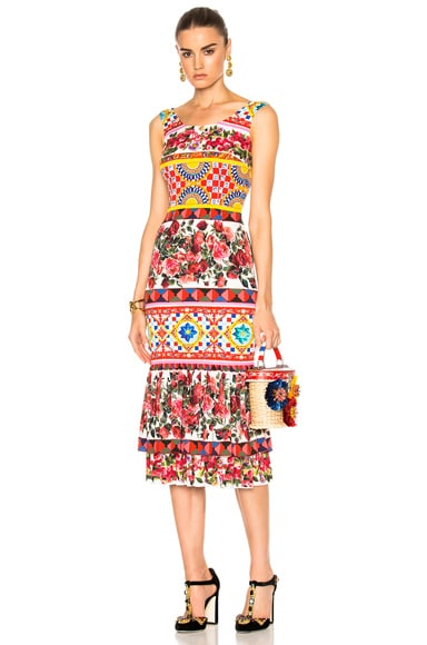 Dolce & Gabbana Charmeuse Printed Dress in Multi