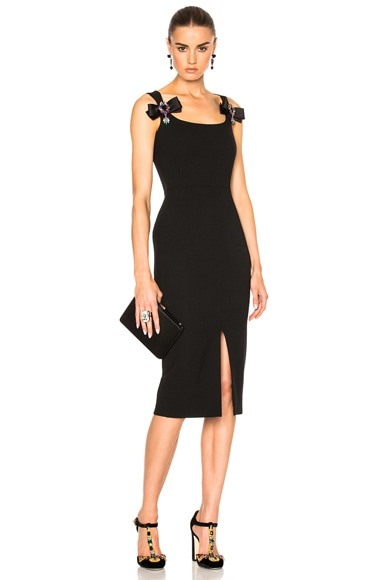 Dolce & Gabbana Crepe Stretch Jewel Dress in Black