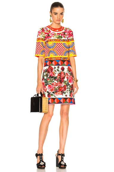 Dolce & Gabbana Printed Textured Cotton Dress in Multi