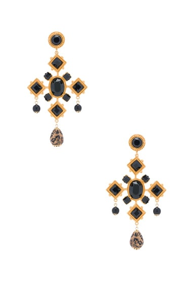 Dolce & Gabbana Black Cross Earring in Gold