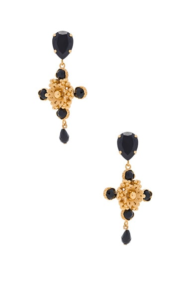 Dolce & Gabbana Cross Earrings in Gold & Black