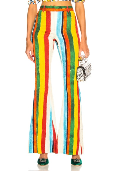 Rainbow Stripe Brocade Flared Trousers