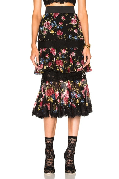 Dolce & Gabbana Tiered Skirt in Black Floral