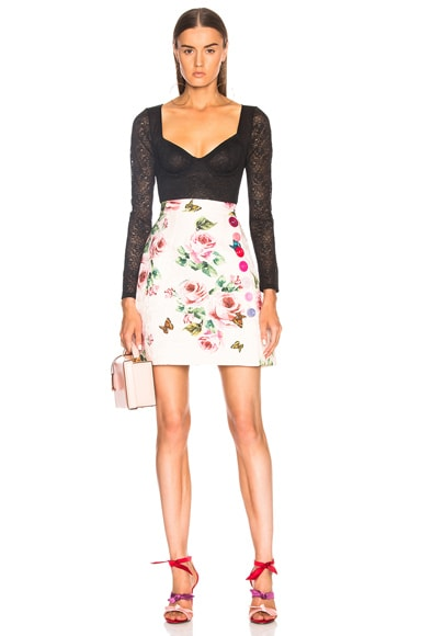 Floral Brocade Mini Skirt