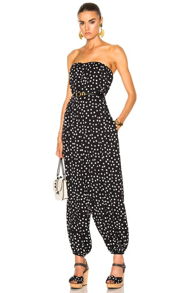 Dolce & Gabbana Strapless Polka Dot Jumpsuit in Black & White