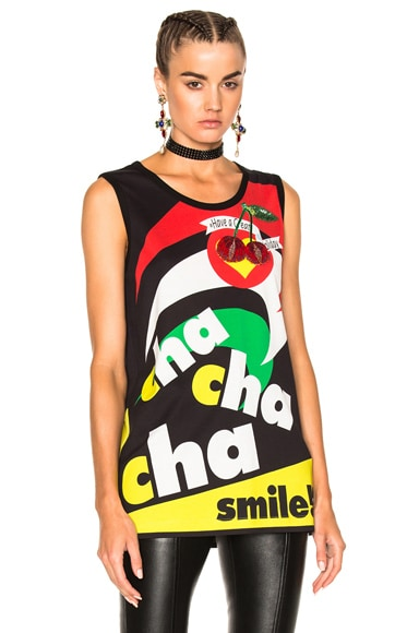 Dolce & Gabbana Cha Cha Graphic Tee in Black