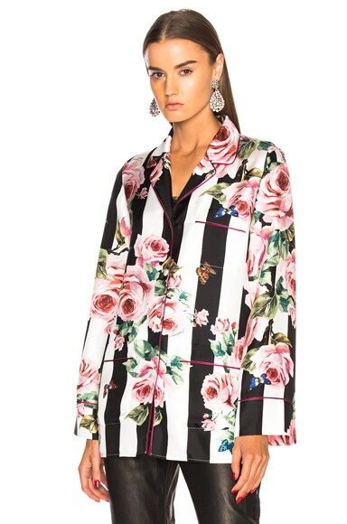 Floral Striped Twill Pajama Top