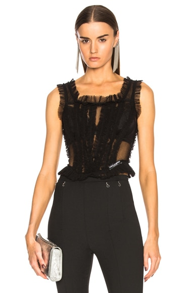 Tulle Sleeveless Square Neck Top