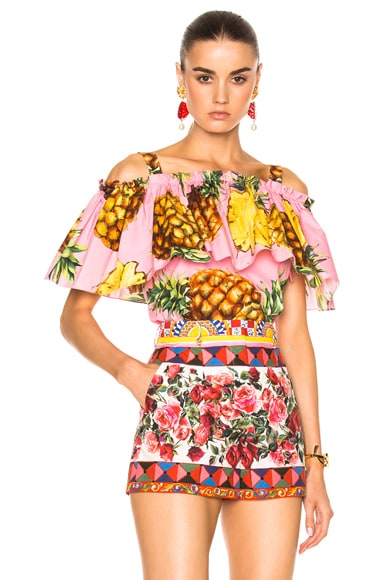 Dolce & Gabbana Off the Shoulder Blouse in Pink Pineapple
