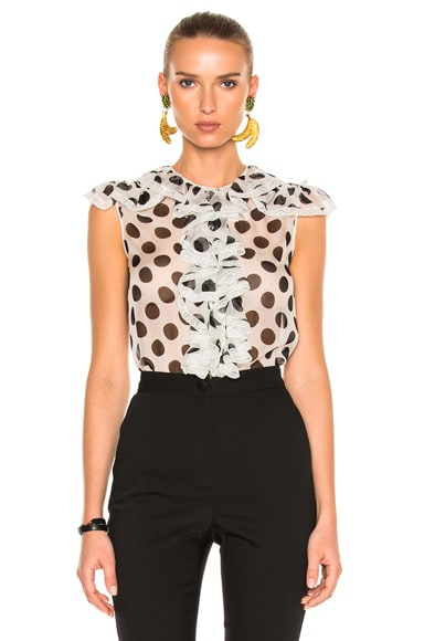 Dolce & Gabbana Polka Dot Blouse in White & Black