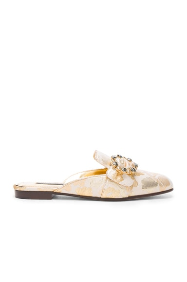 Dolce & Gabbana Brocade Mules in Gold