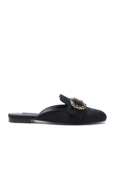 Dolce & Gabbana Brocade Mules in Black