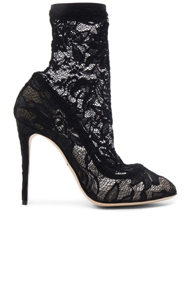 Dolce & Gabbana Stretch Lace Booties in Black