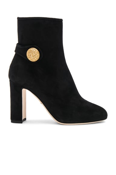 Side Button Suede Booties