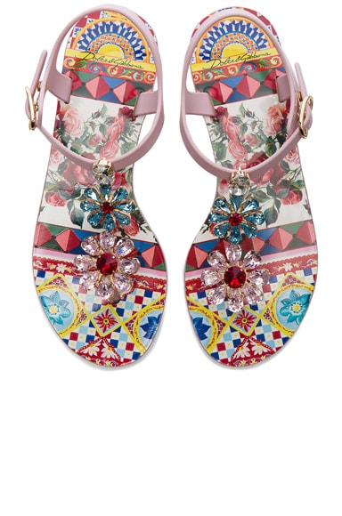 Dolce & Gabbana Flower Jewel Jelly Sandals in Light Pink
