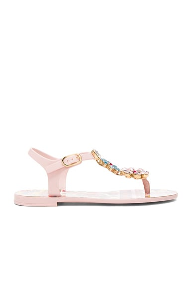 Flower Jewel Jelly Sandals