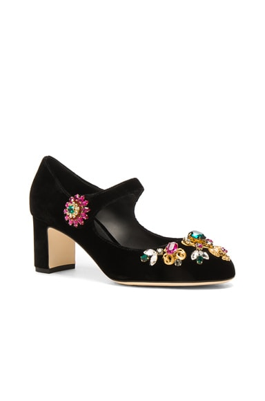 Jewel Embellished Velvet Maryjane Heels