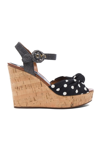 Dolce & Gabbana Wedge in Black & White Polka Dot