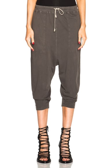 DRKSHDW by Rick Owens Drawstring Cropped Pants in Dark Dust