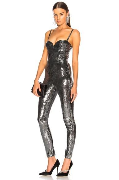 Sequin Bustier Skinny Jumpsuit