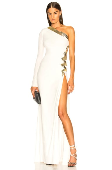 One Shoulder Viscose Jersey Embroidered Gown