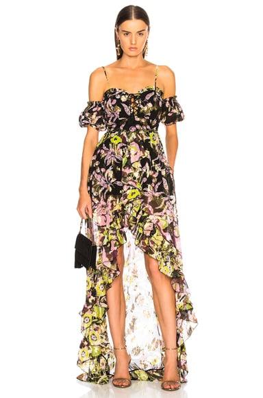 Fil Coupe Lace Front Maxi Dress