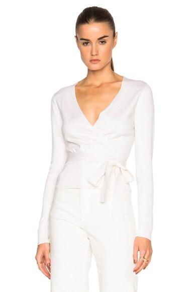 Diane von Furstenberg Ballerina Wrap Sweater in Ivory