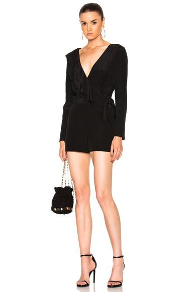 Diane von Furstenberg Asymmetric Ruffle Romper in Black