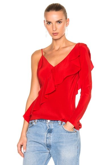 Diane von Furstenberg Asymmetrical Sleeve Ruffle Front Blouse Top in Dare Red