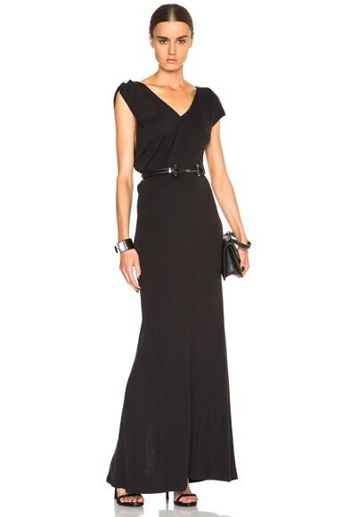EACH x OTHER Asymmetric V-Neck Dress in Black