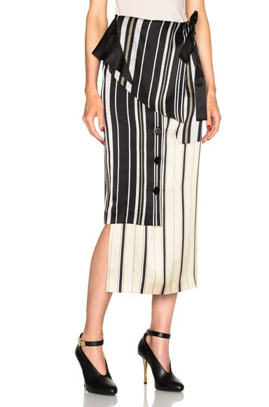EACH x OTHER Belted Wrap Skirt in Black Stripes