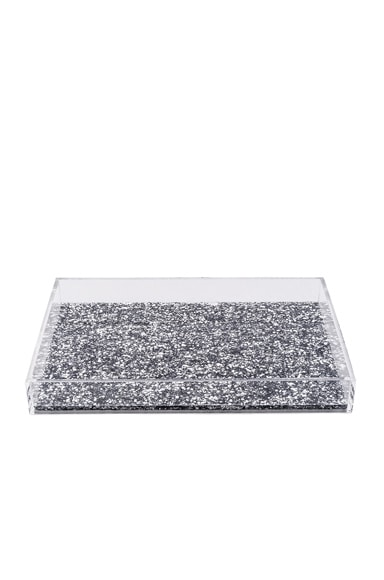 Edie Parker Solid Vanity Tray in Silver Confetti