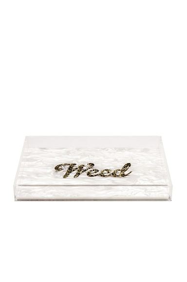 Edie Parker Weed Vanity Tray in White & Gold Confetti
