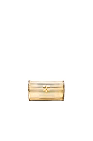 Edie Parker Dani Metal Back It Clutch in Gold & Taupe