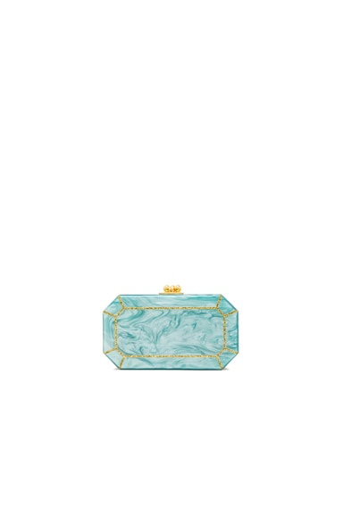 Edie Parker Fiona Faceted Clutch in Gold Glitter & Teal