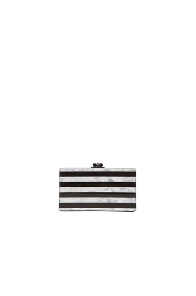 Edie Parker Jean Striped Clutch in Black & White