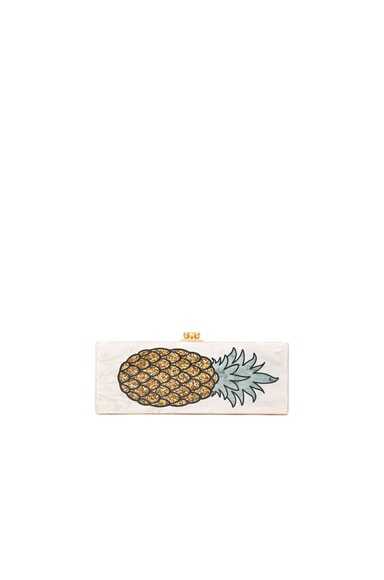 Edie Parker Flavia Pineapple Clutch in Nude