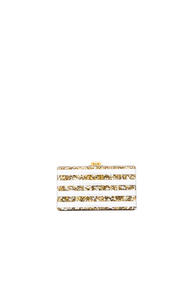 Edie Parker Jean Striped Clutch in Gold & Silver