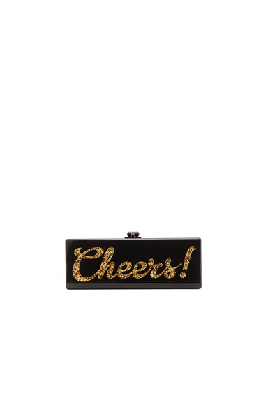 Edie Parker Flavia Cheers Clutch in Obsidian Sand
