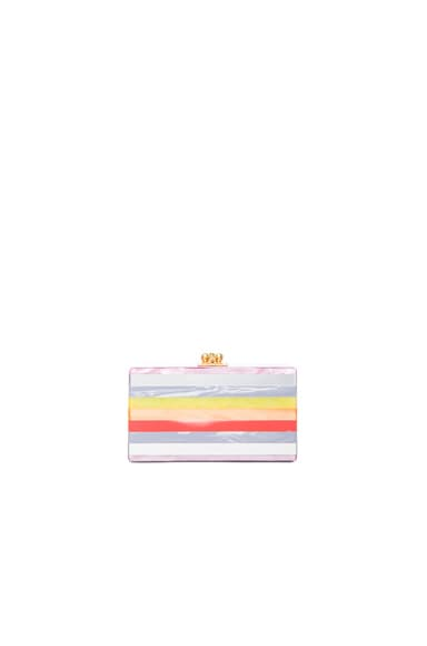 Edie Parker Jean Striped Clutch in Mauve
