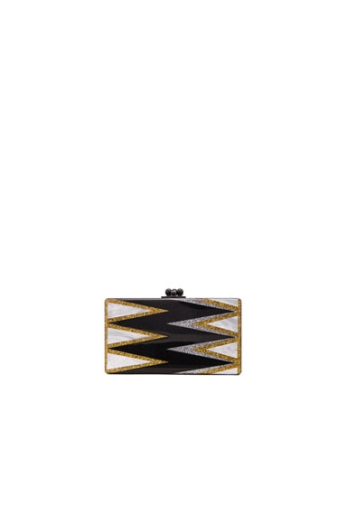 Edie Parker Jean Twist Clutch in Obsidian