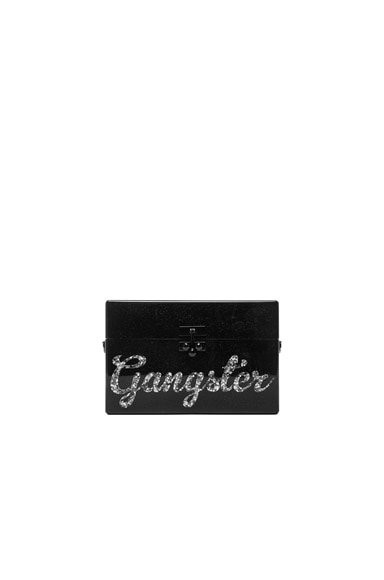 Edie Parker Small Trunk Gangster Clutch in Obsidian & Silver Stars