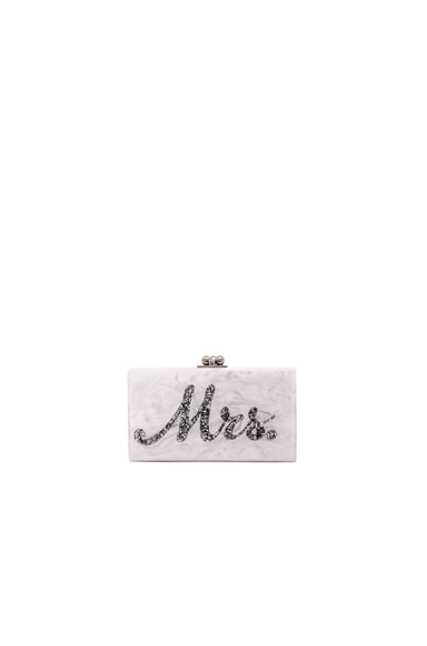 Edie Parker Mrs. Clutch in White & Silver Confetti