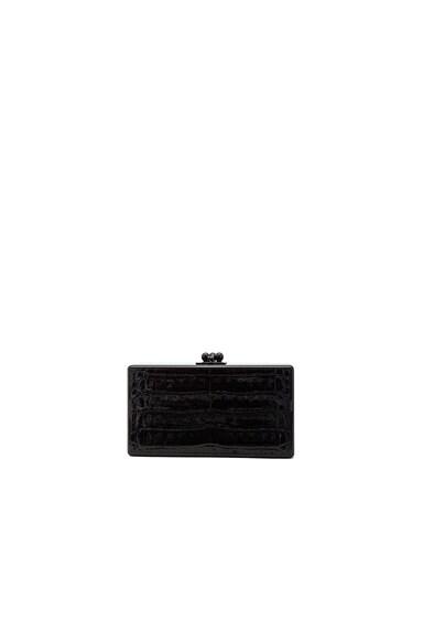 Edie Parker Jean Croc Tail Panel Clutch in Obsidian & Black