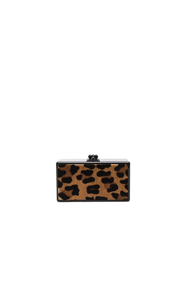 Edie Parker Jean Leopard Panel Clutch in Obsidian & Multi