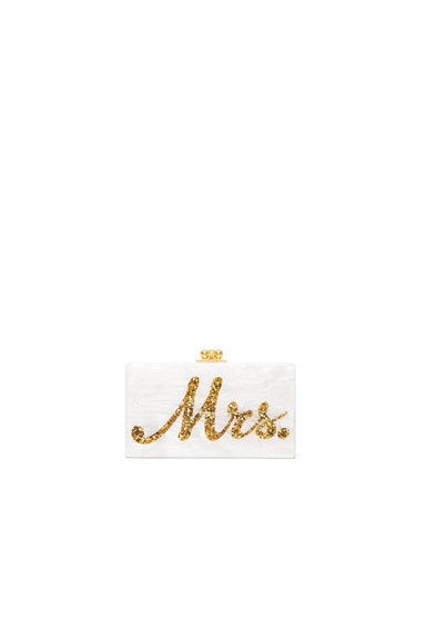 Edie Parker Mrs. Clutch in White & Gold Confetti