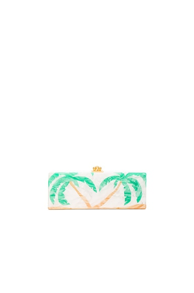 Edie Parker Flavia Palms Clutch in White Pearlescent